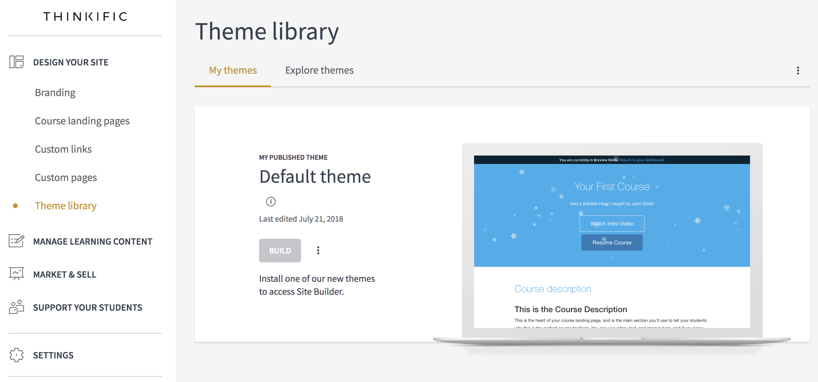 The theme library page on Thinkific
