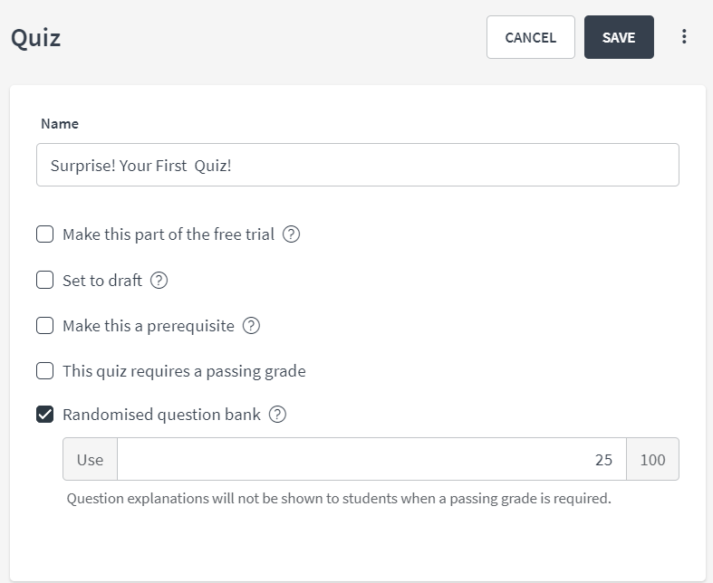 Randomized Question Bank for Quizzes – Thinkific