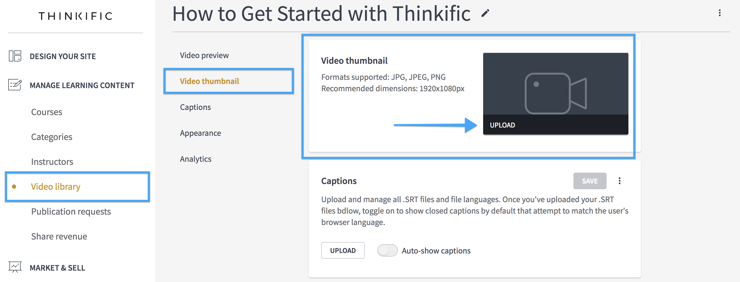 Change Your Video Thumbnails – Thinkific